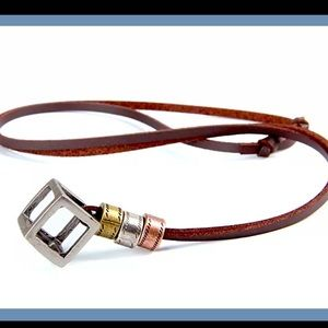 Hollow Cube leather necklace
